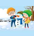 two kids hugging snowman vector image