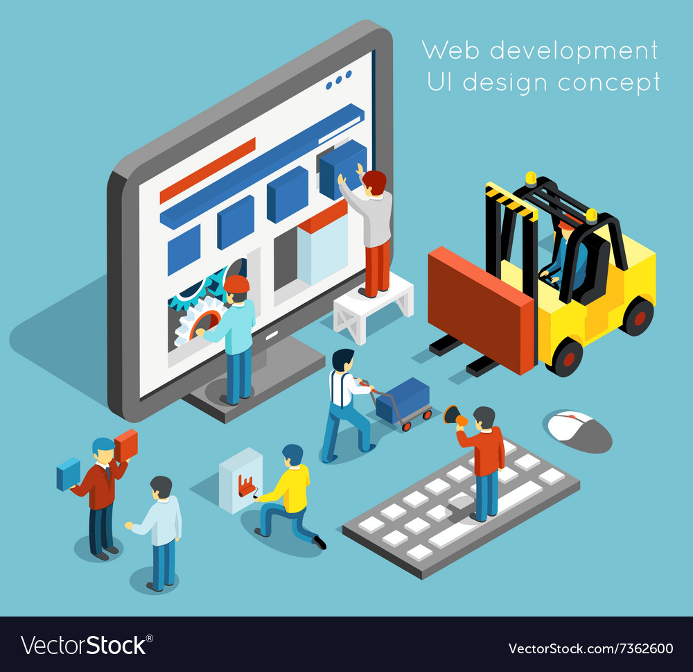 Web development and ui design concept in vector