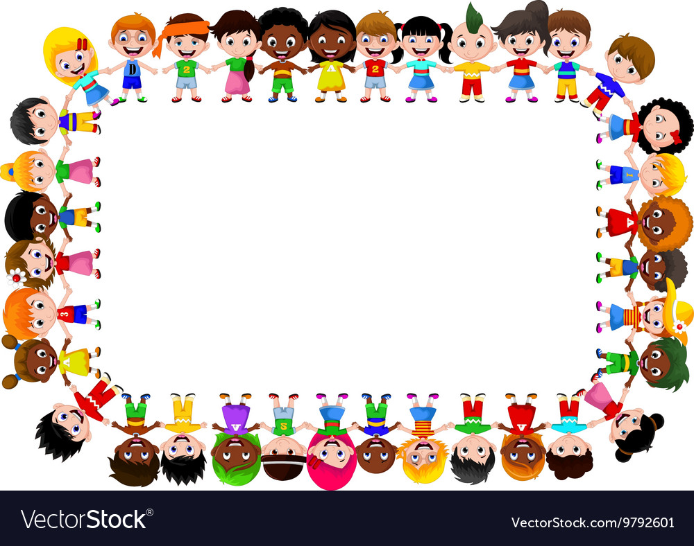 Happy children different races vector