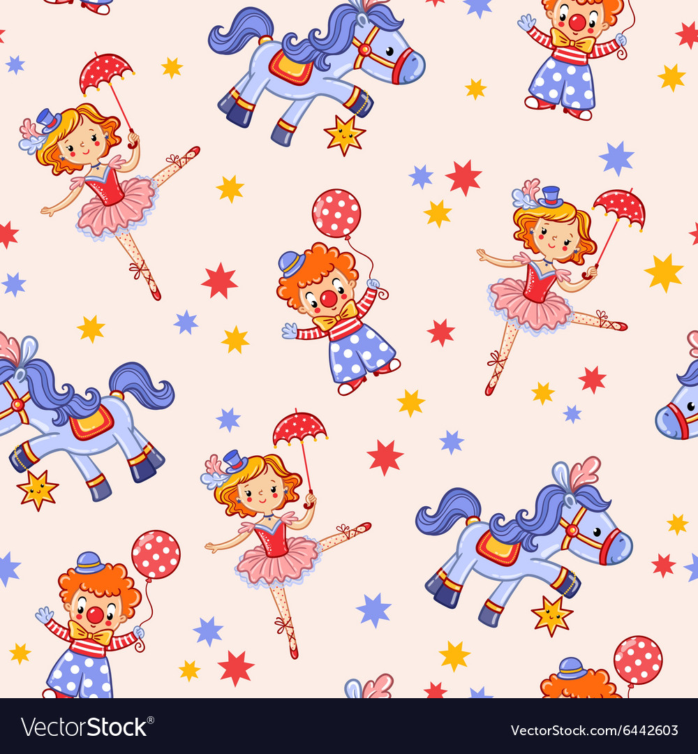 Seamless kids circus background pattern in vector