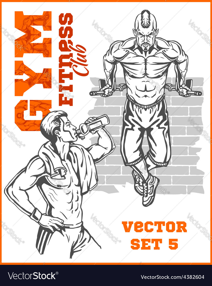 Men  bodybuilders gym bodybuilding vector