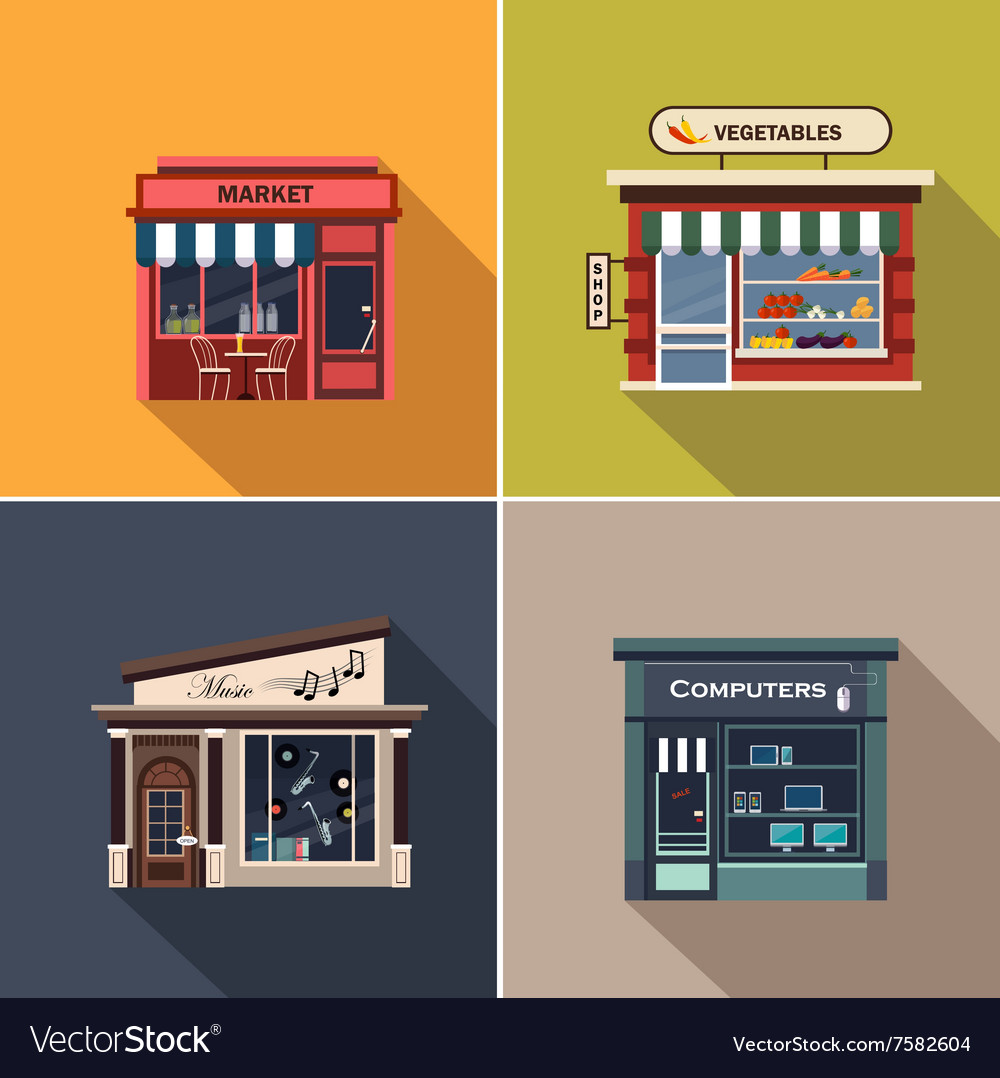 Stores and shop facades flat vector