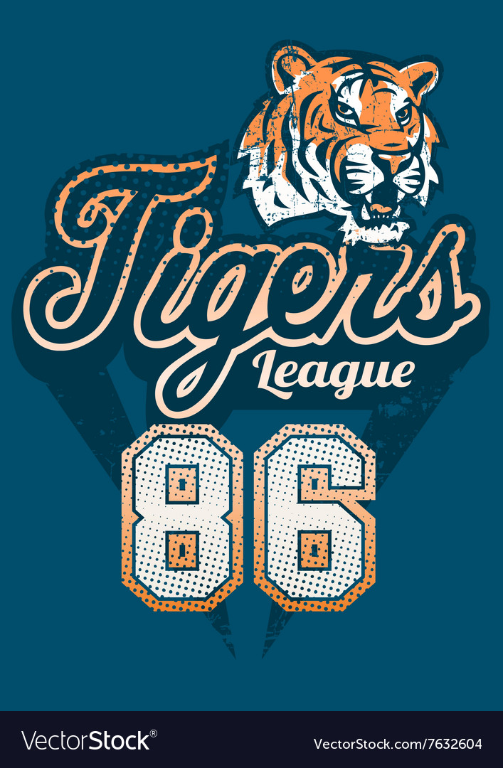 Tiger sports league jersey print vector