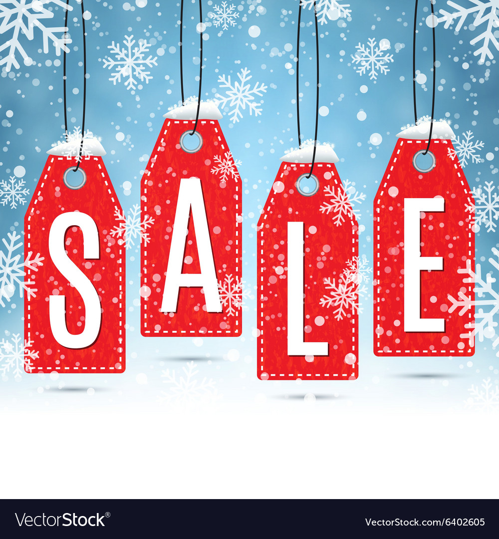 Sale price tags on winter background vector