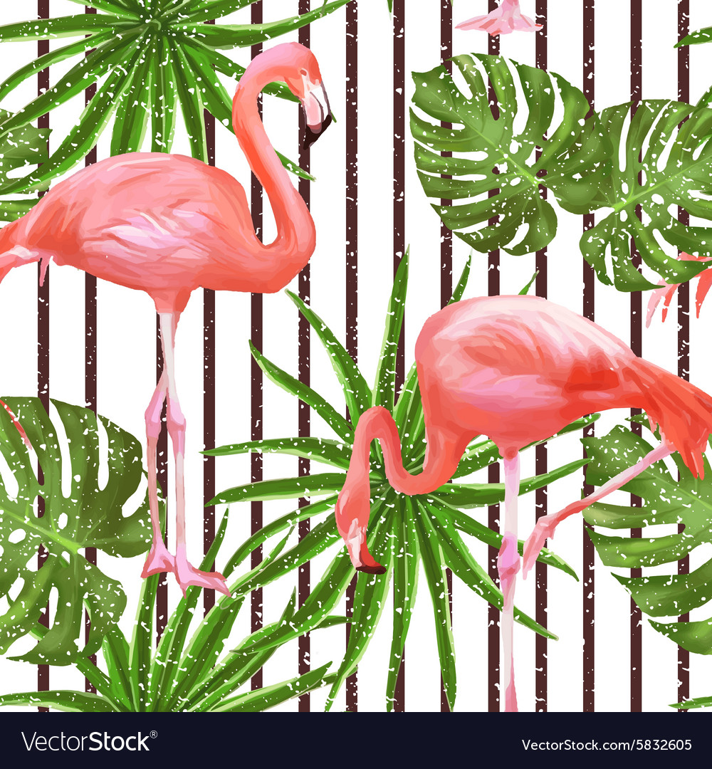 Seamless pattern with flamingo birds and palm vector