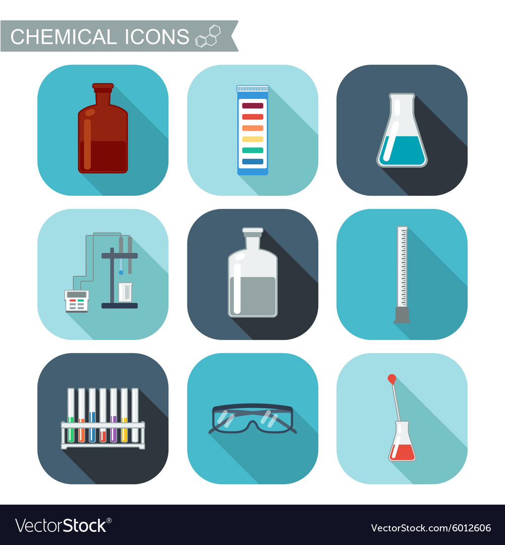 Chemical icons flat design with shadows chemical vector
