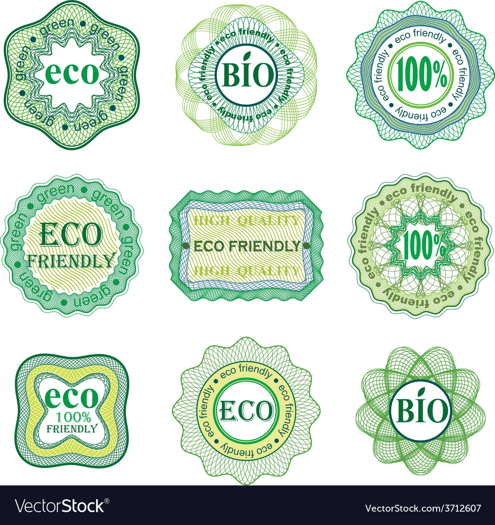 Set of labels for green technology and production vector