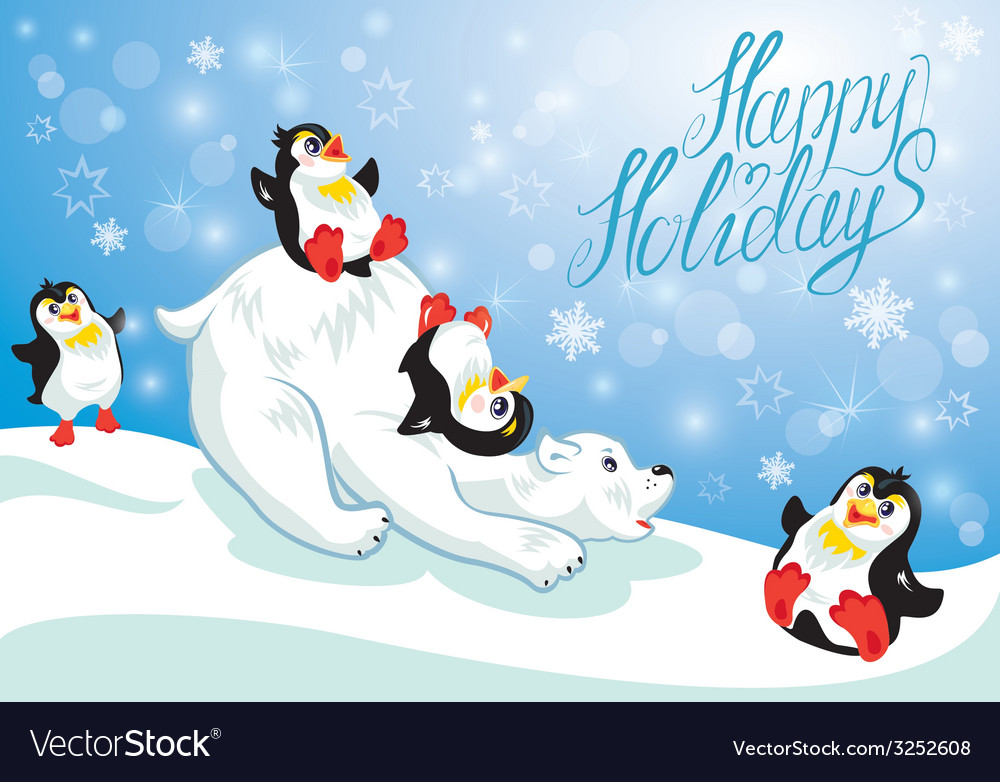 Card with funny penguins and polar bear on blue sn vector