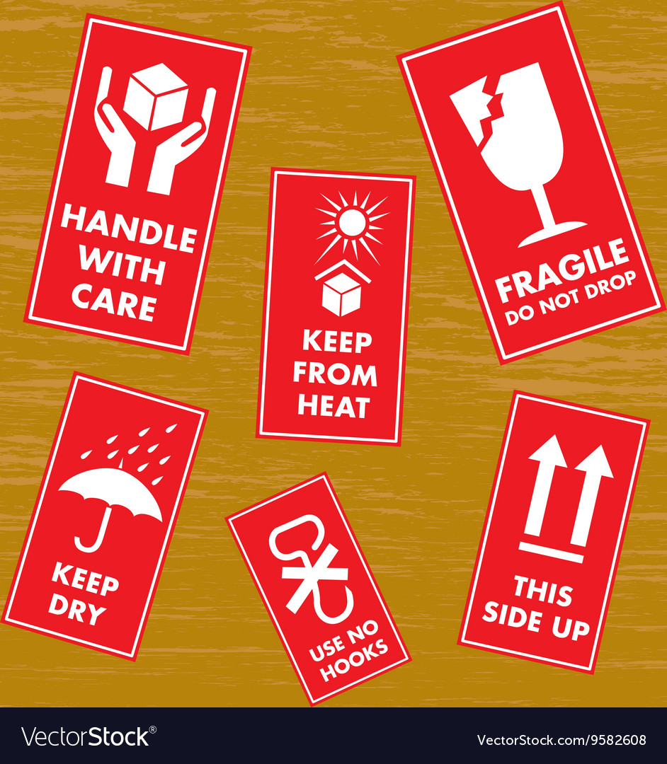 Fragile sticker set vector