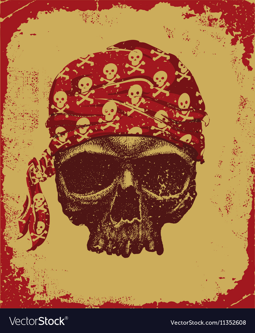 Skull with bandana vector