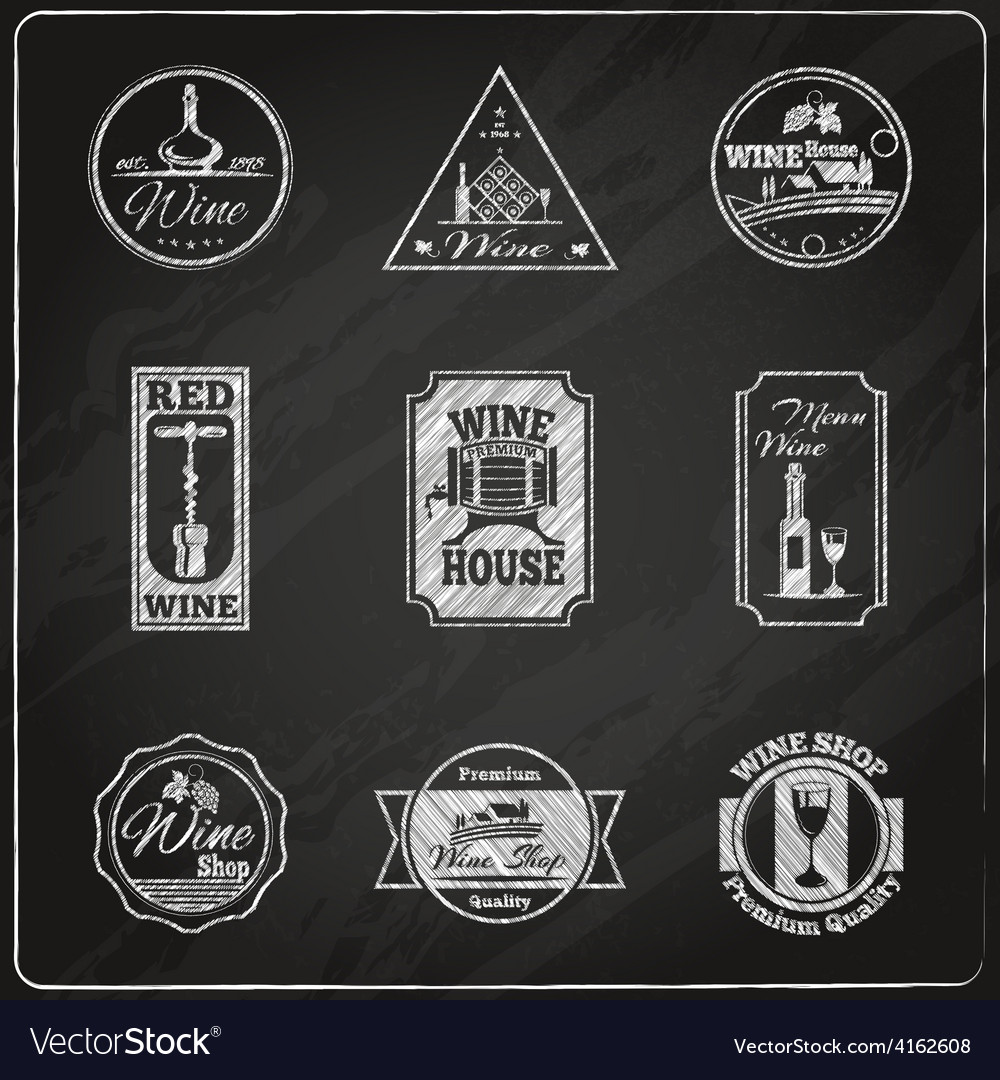 Wine label chalkboard vector