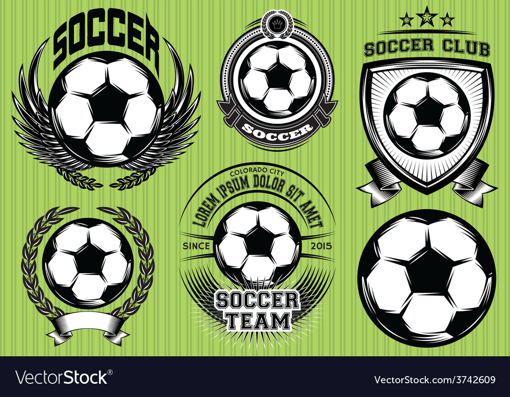 Set of soccer football badge logo design templates vector