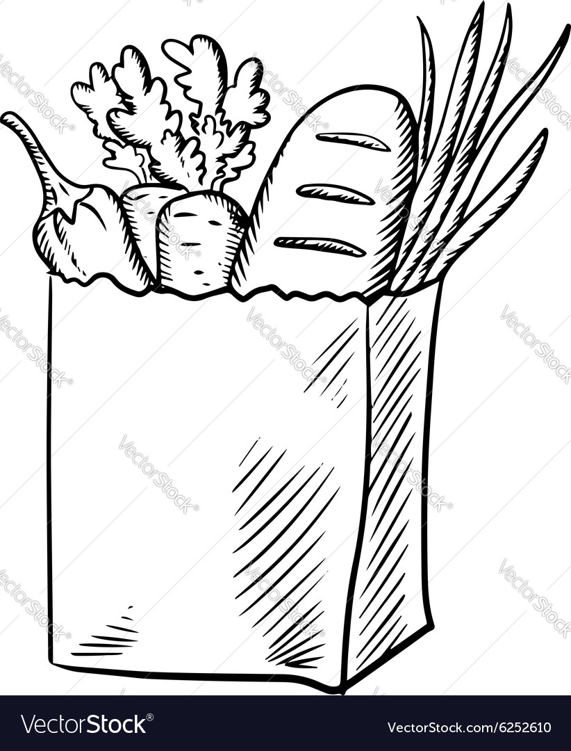 Fresh vegetables and bread in paper bag vector