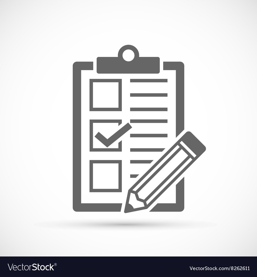 Checklist with tick and pencil vector