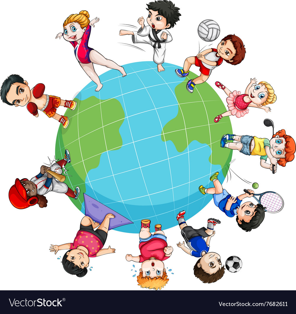 Children doing sports around the world vector