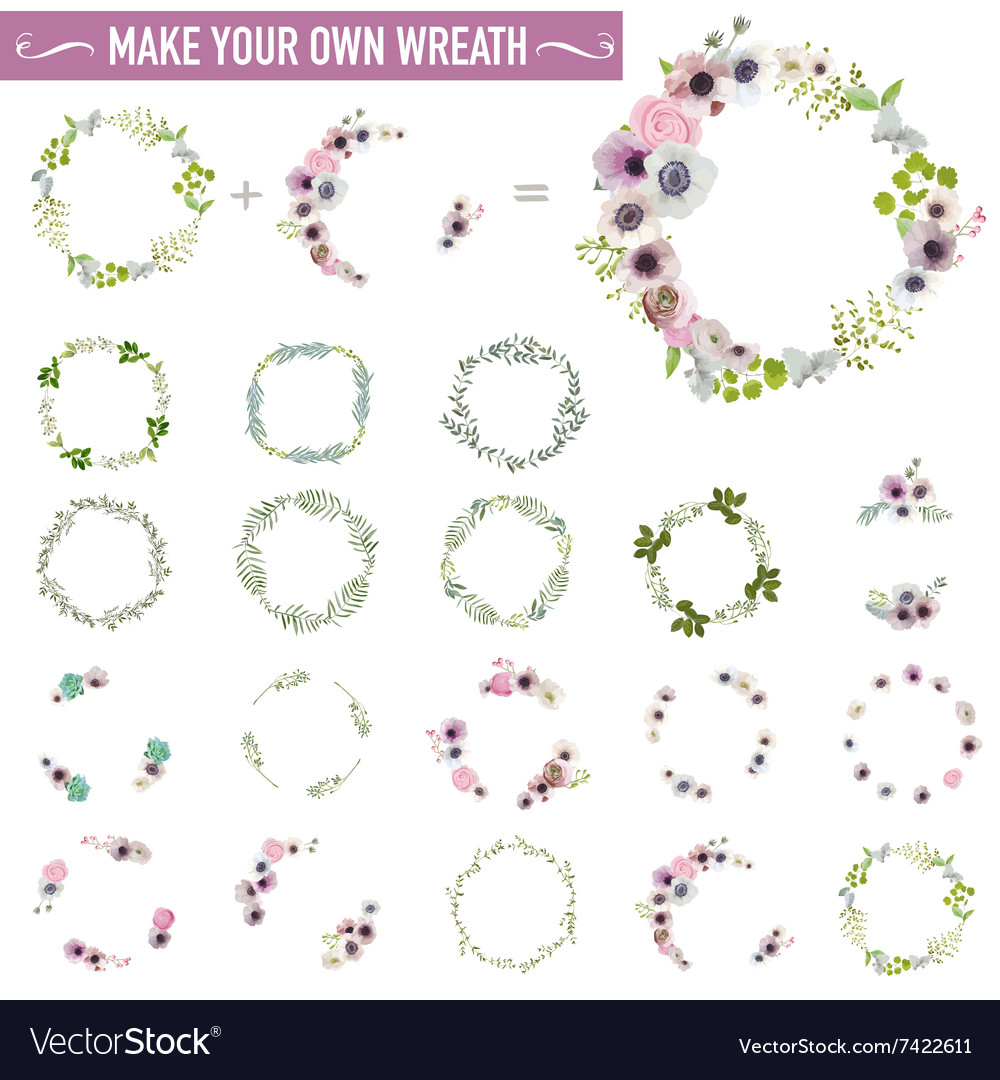 Vintage flower wreath set  watercolor style vector