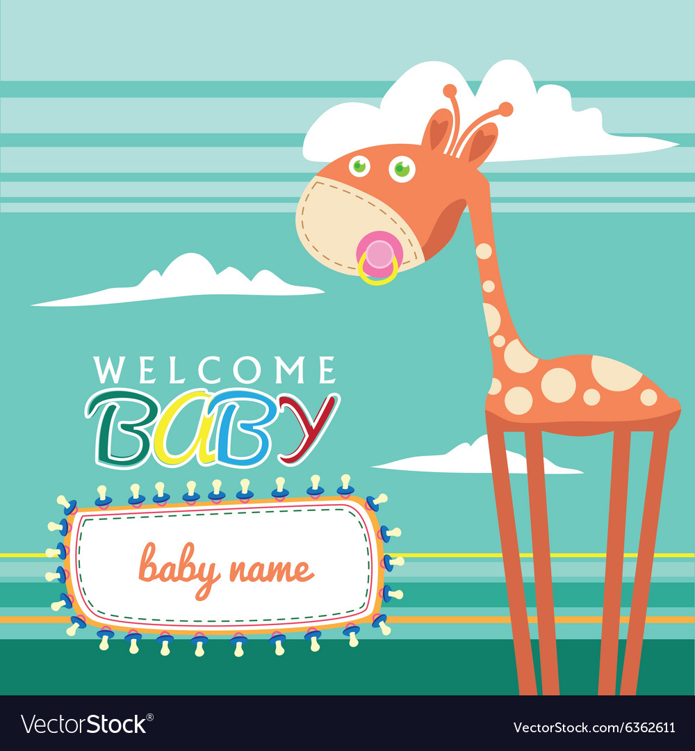 Welcome baby born greeting card cute vector