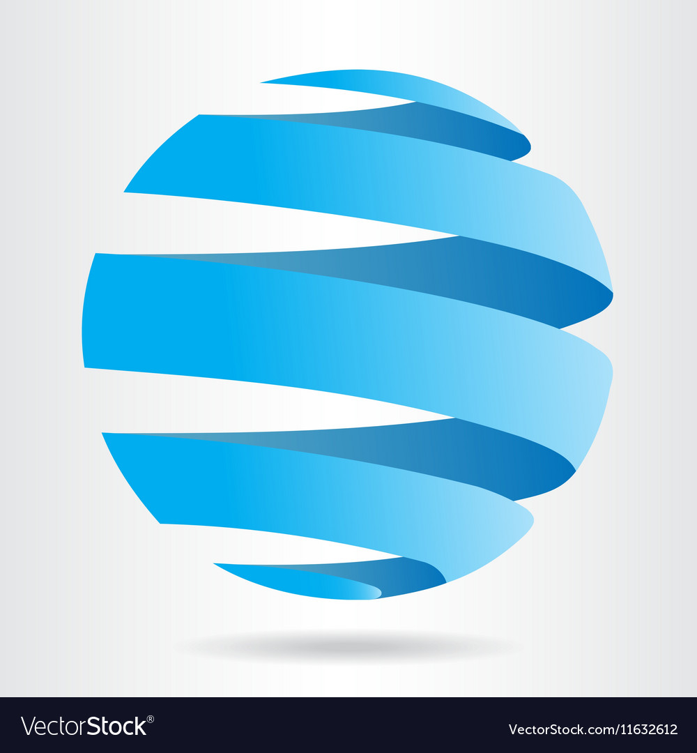 Abstract blue sphere icon ecology concept vector
