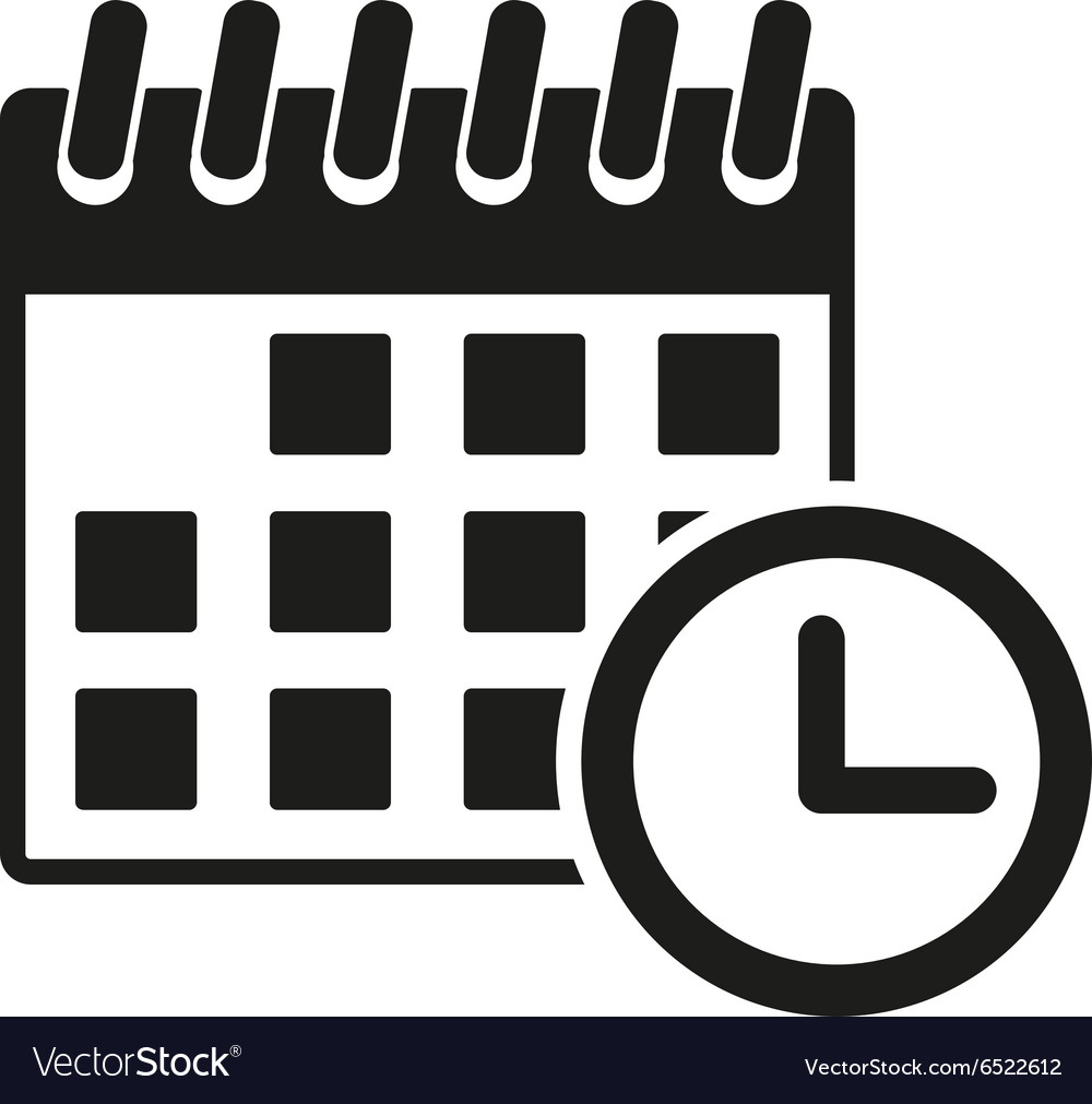 Calendar icon reminder and event time symbol vector