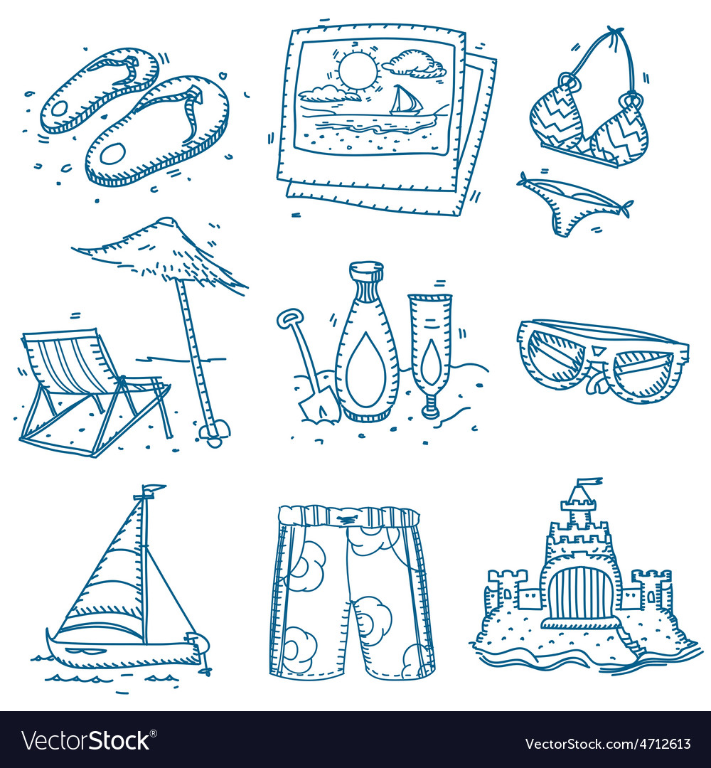Hand drawn doodle sketch travel icons summer vector
