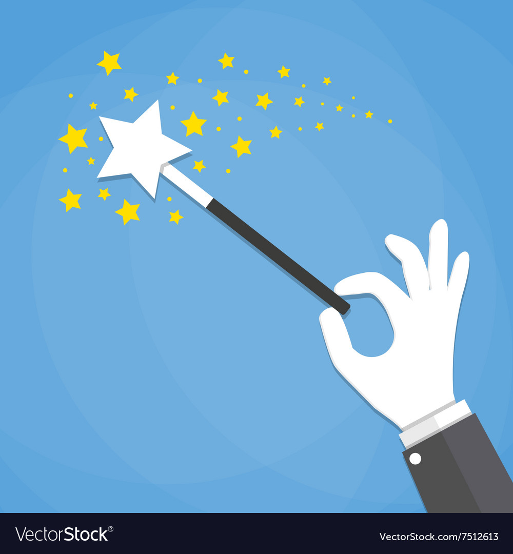 Hand with a magic wand vector