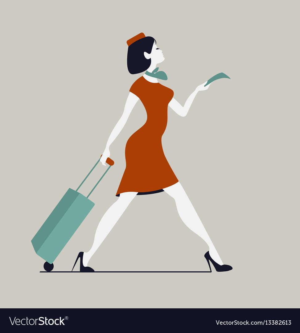Stewardess with luggage woman with baggage and vector