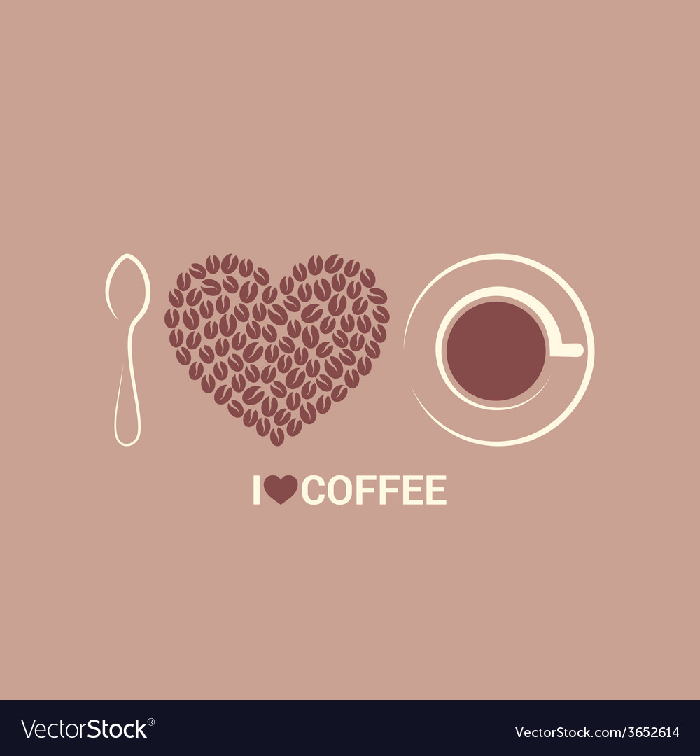 Coffee beans love concept background vector