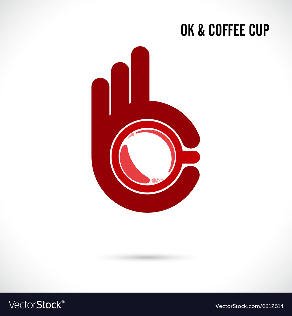 Creative hand and coffee cup abstract logo design vector