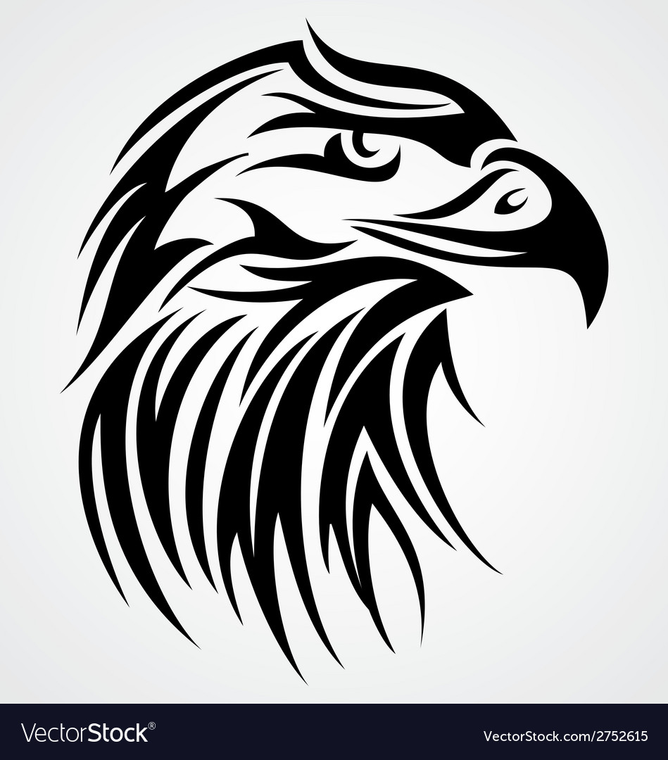 Eagle head tattoo design vector