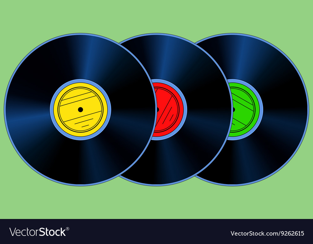 Gramophone records set vector
