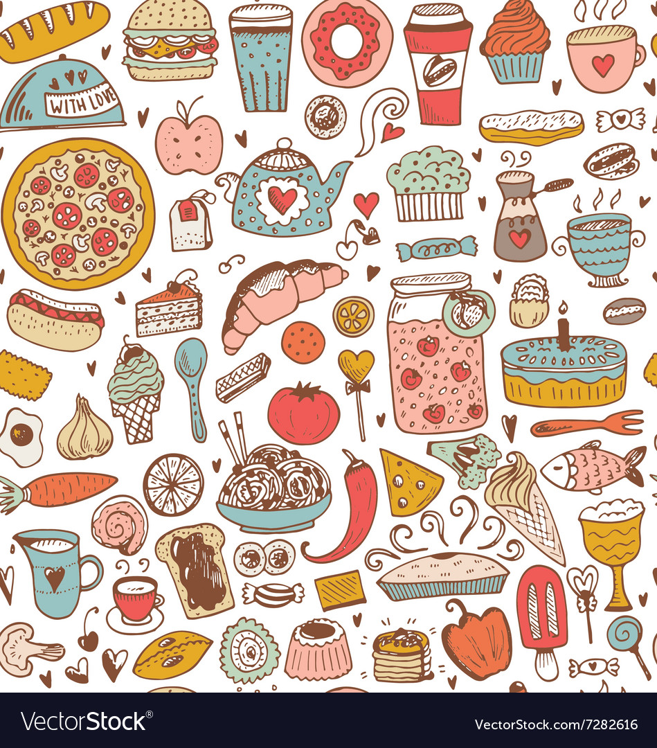 Seamless food sketch pattern vector