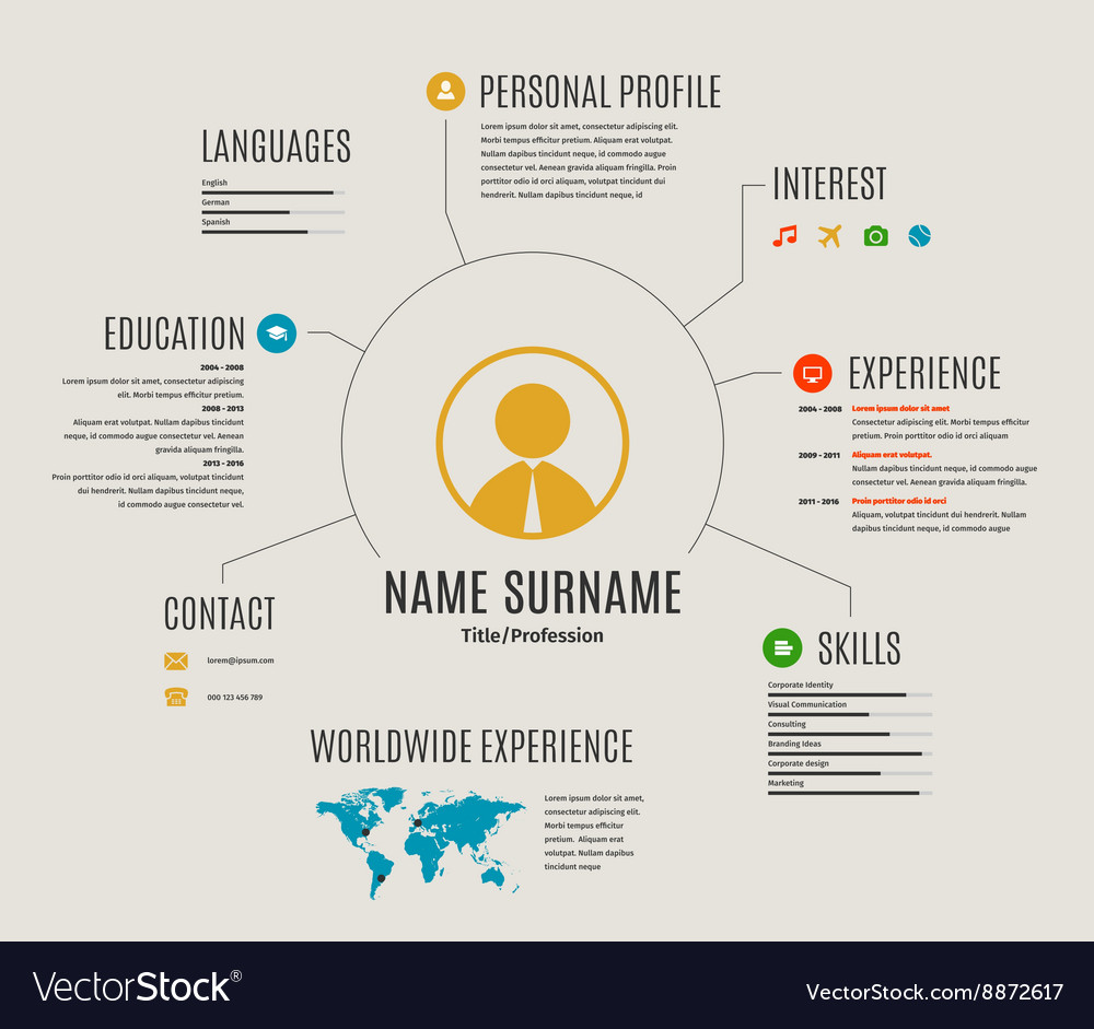 Resume web template cv with icons vector