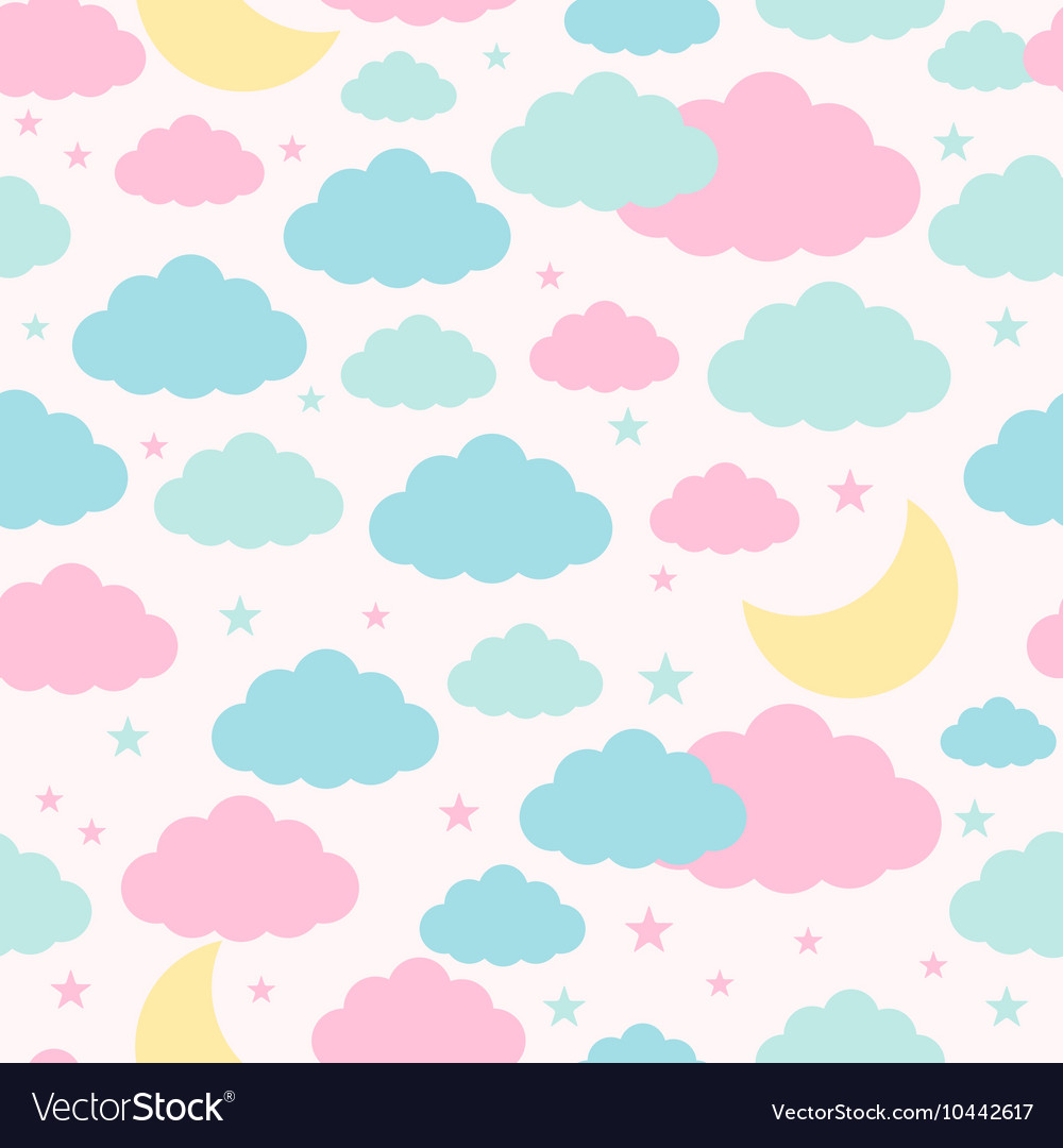 Seamless background with moon clouds and stars vector
