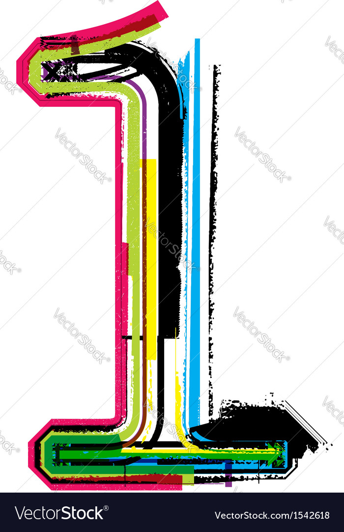 Grunge colorful font number 1 vector
