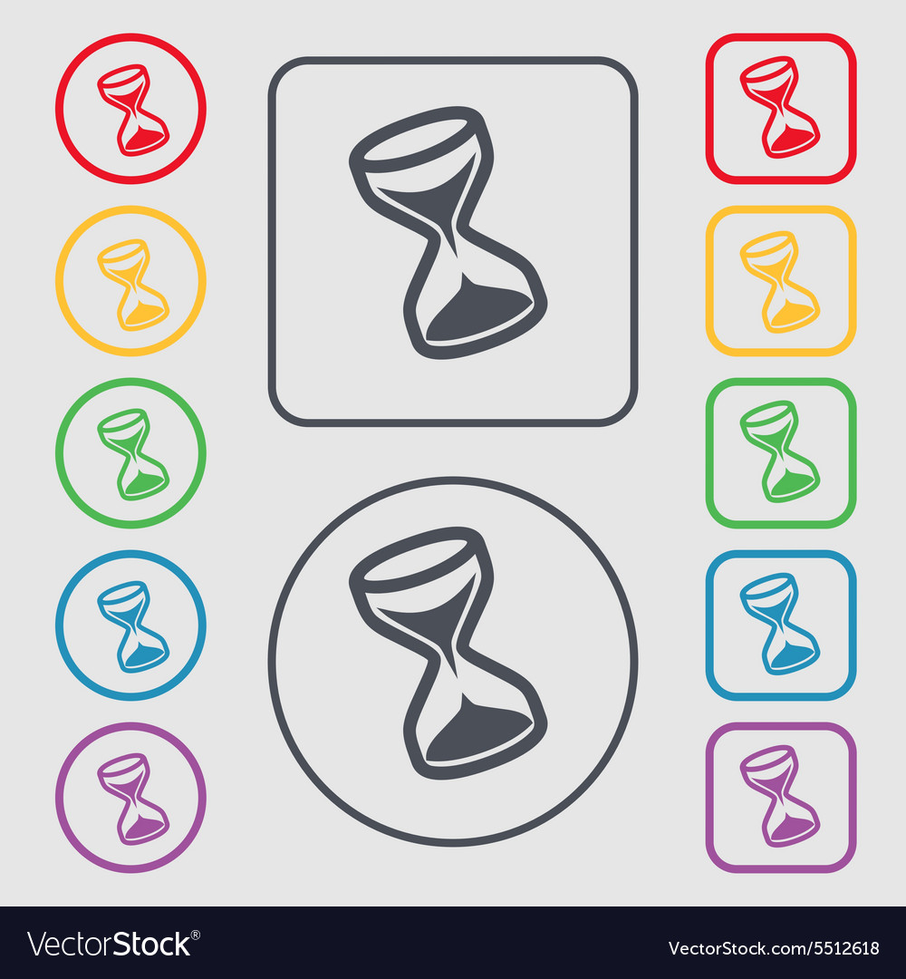 Hourglass icon sign symbol on the round and square vector