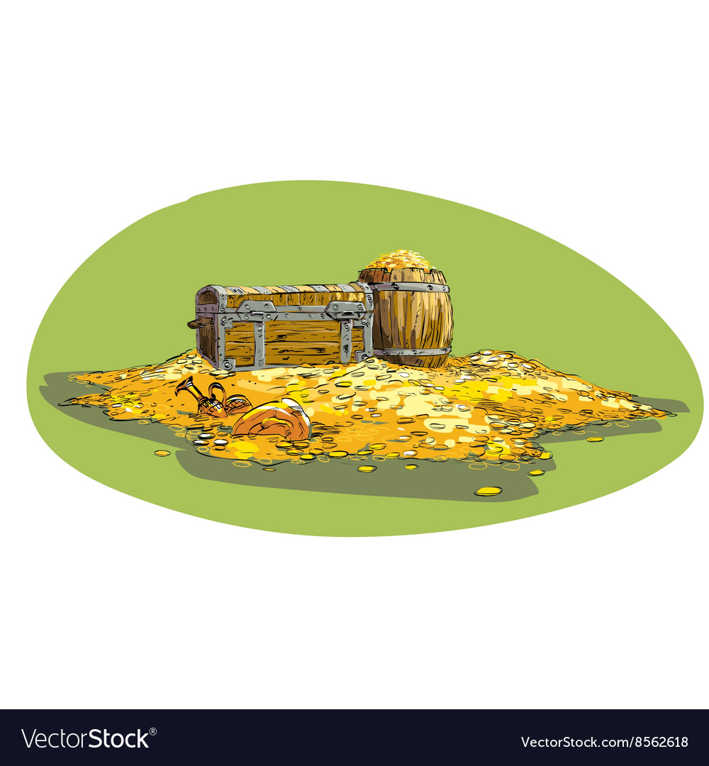 Pirate treasure chest with gold vector