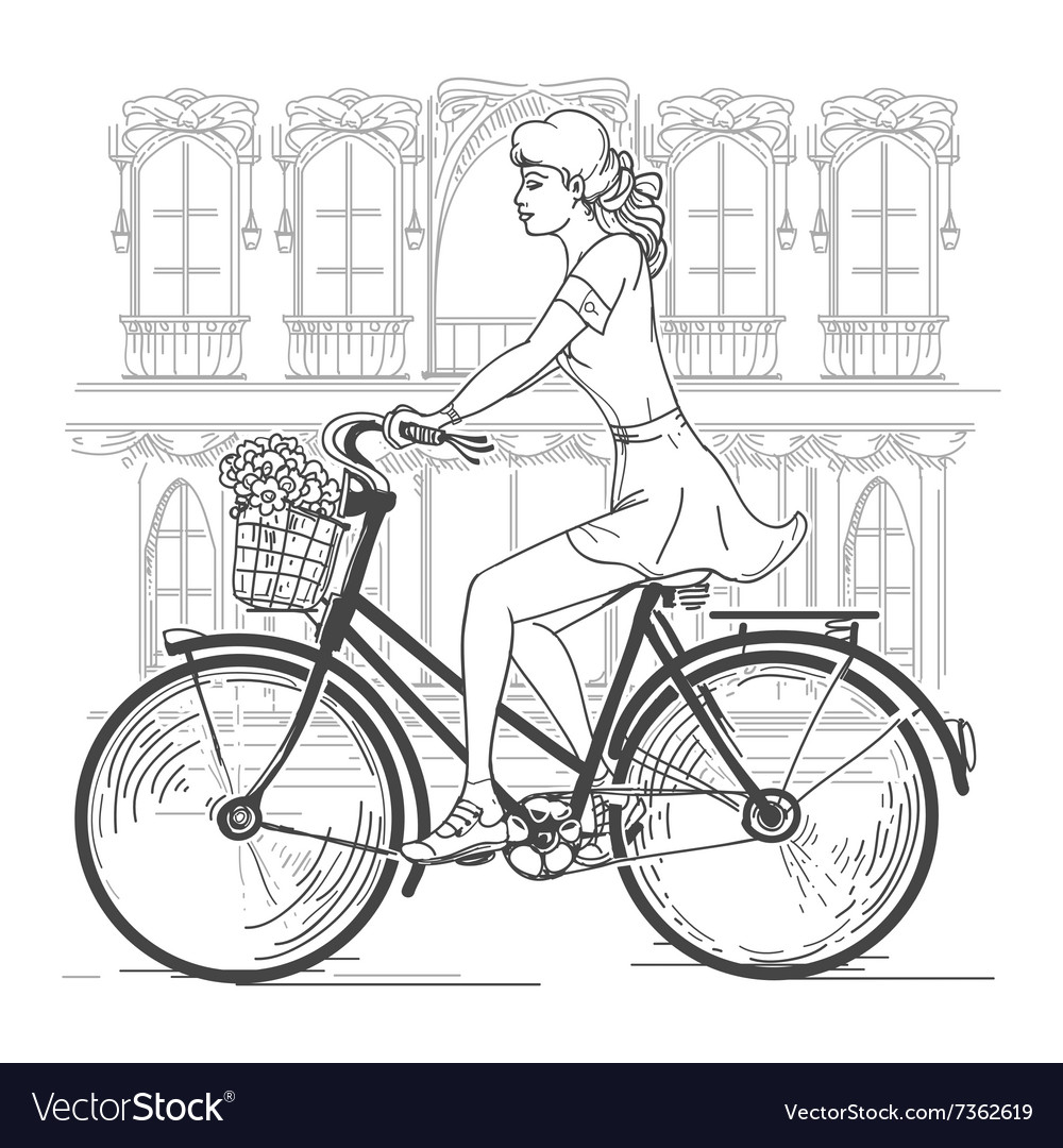 Girl bicyclist in paris vector