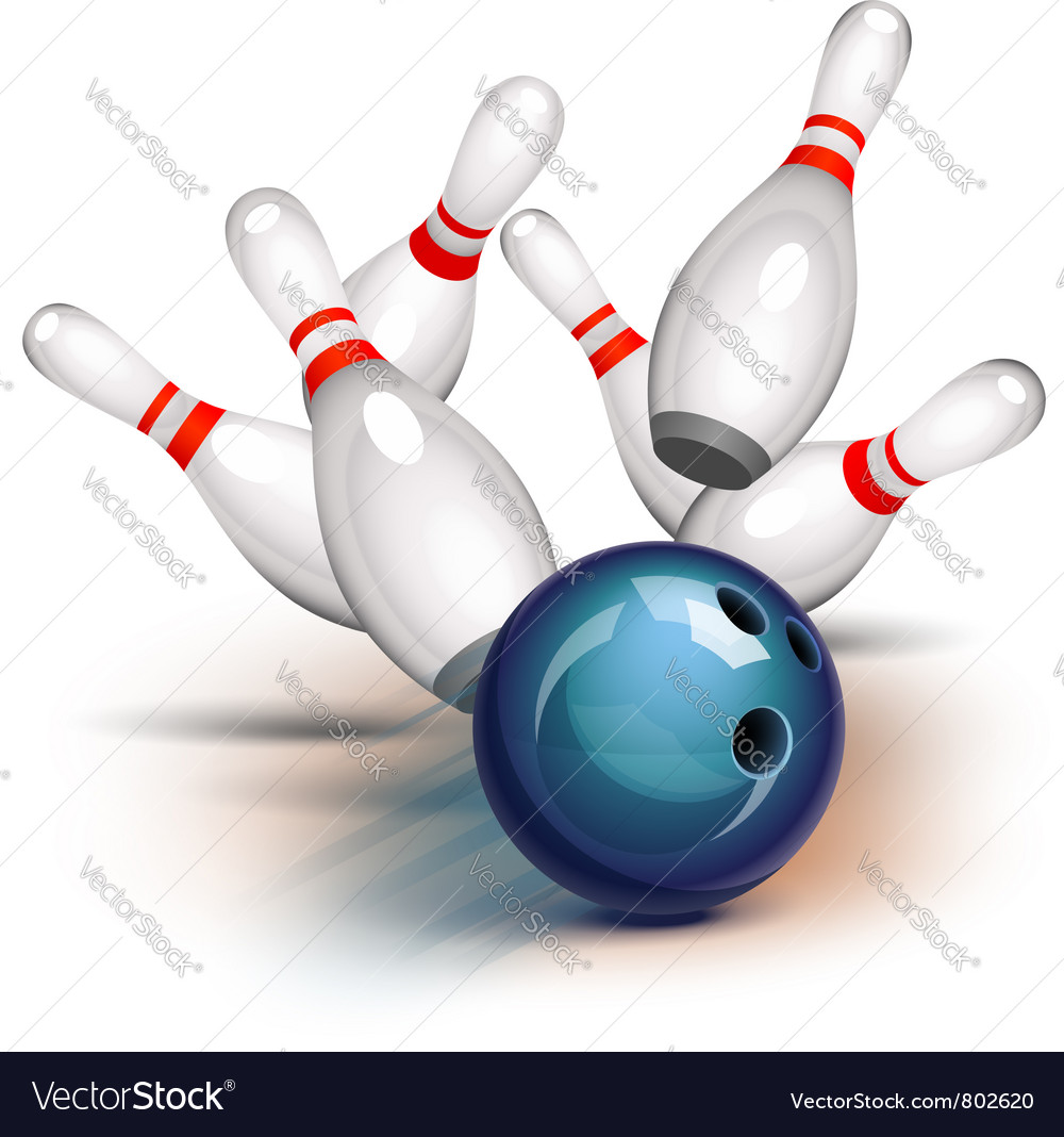 Bowling ball crashing into the pins vector