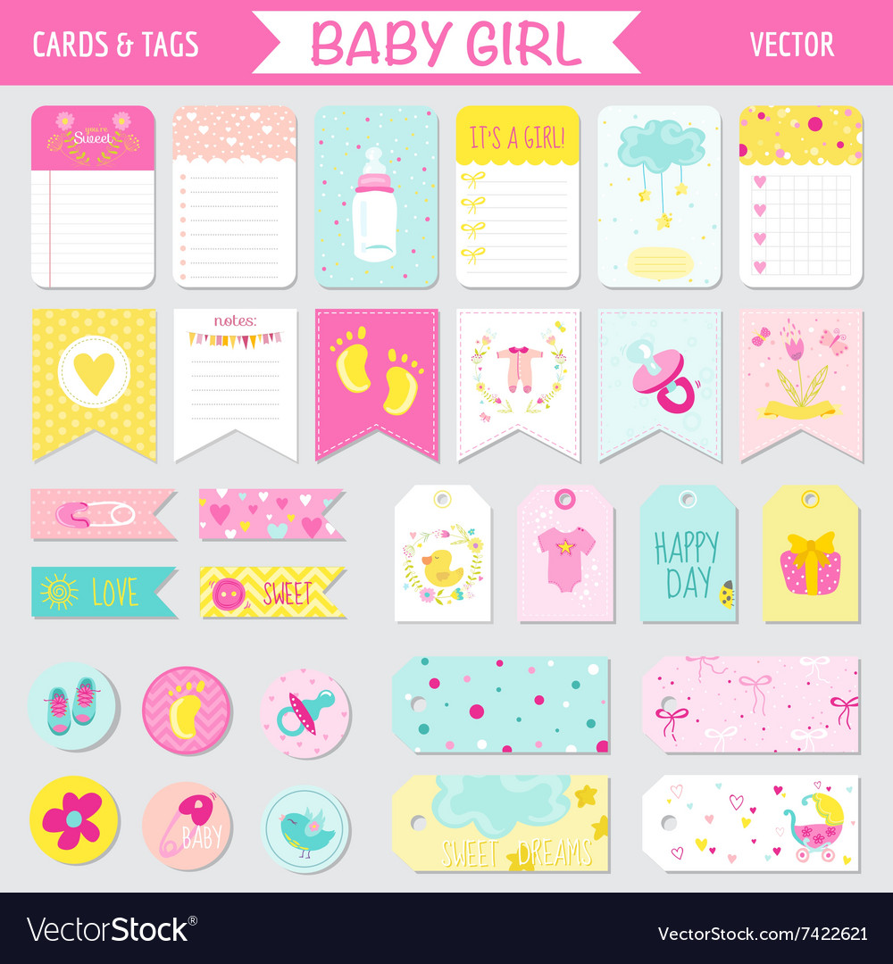 Baby girl shower or arrival set  tags banners vector