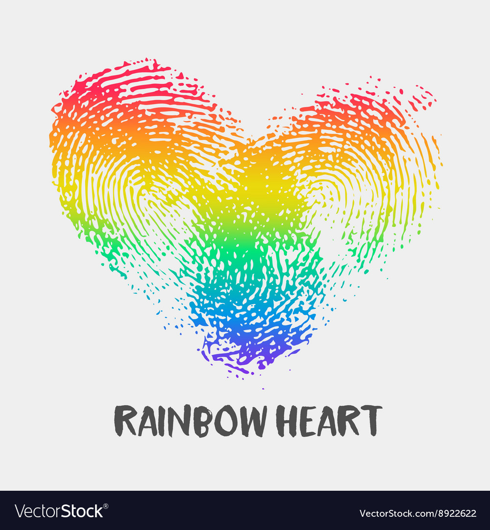 Conceptual logo with fingerprint rainbow heart vector