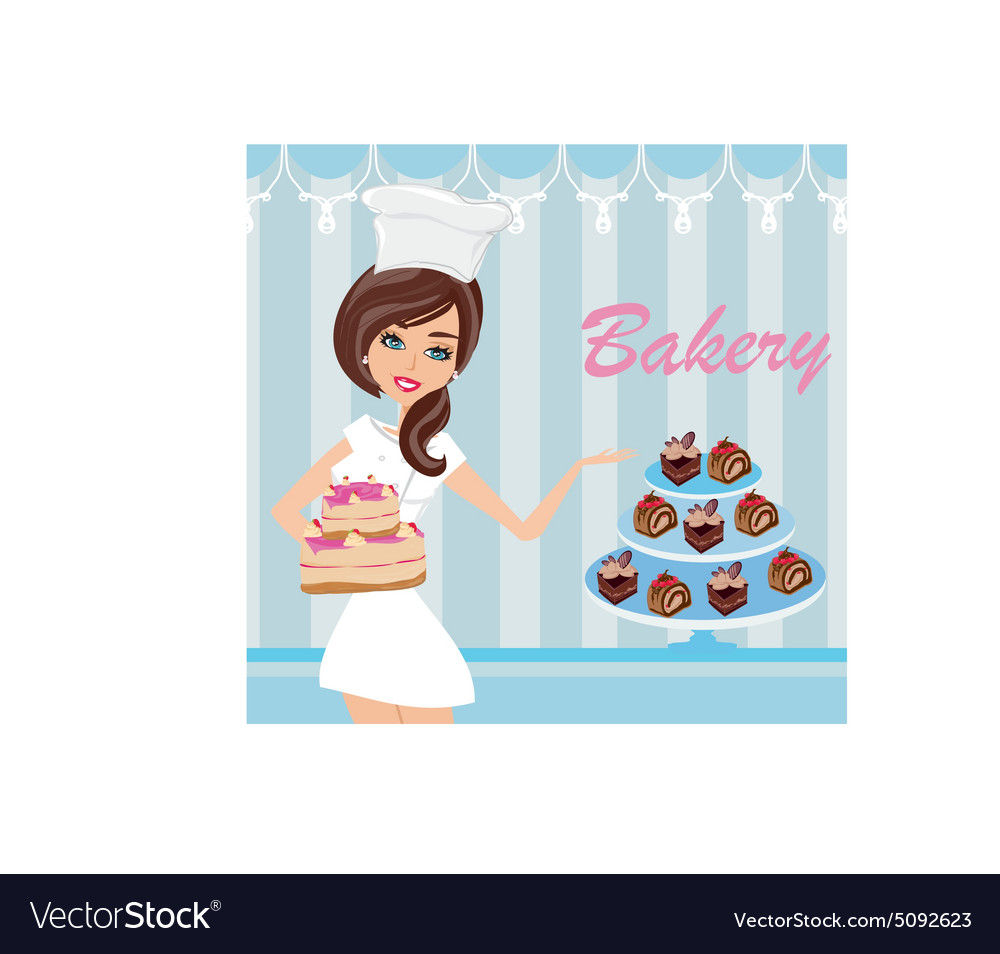 Bakery store  saleswoman serving cakes vector
