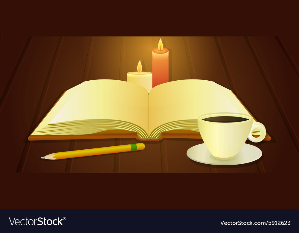 Open book and cup of coffee vector