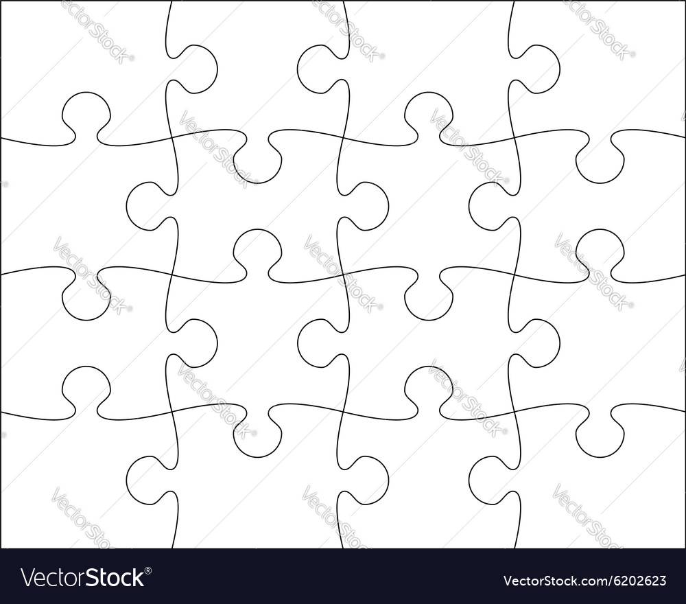 Puzzle blank template easy to edit vector