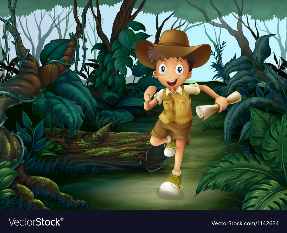 A young boy in the middle of the woods vector