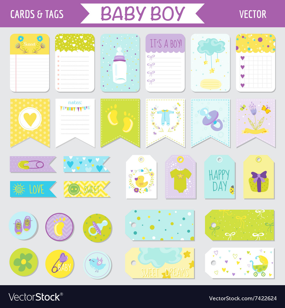 Baby boy shower or arrival set  tags banners vector