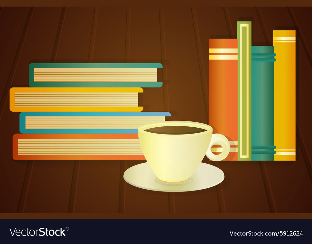 Books and cup of coffee on the table vector
