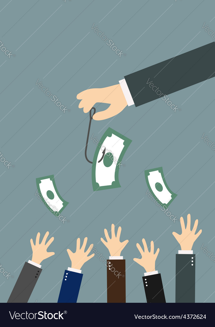 Hands reaching for money on a fishing hook vector