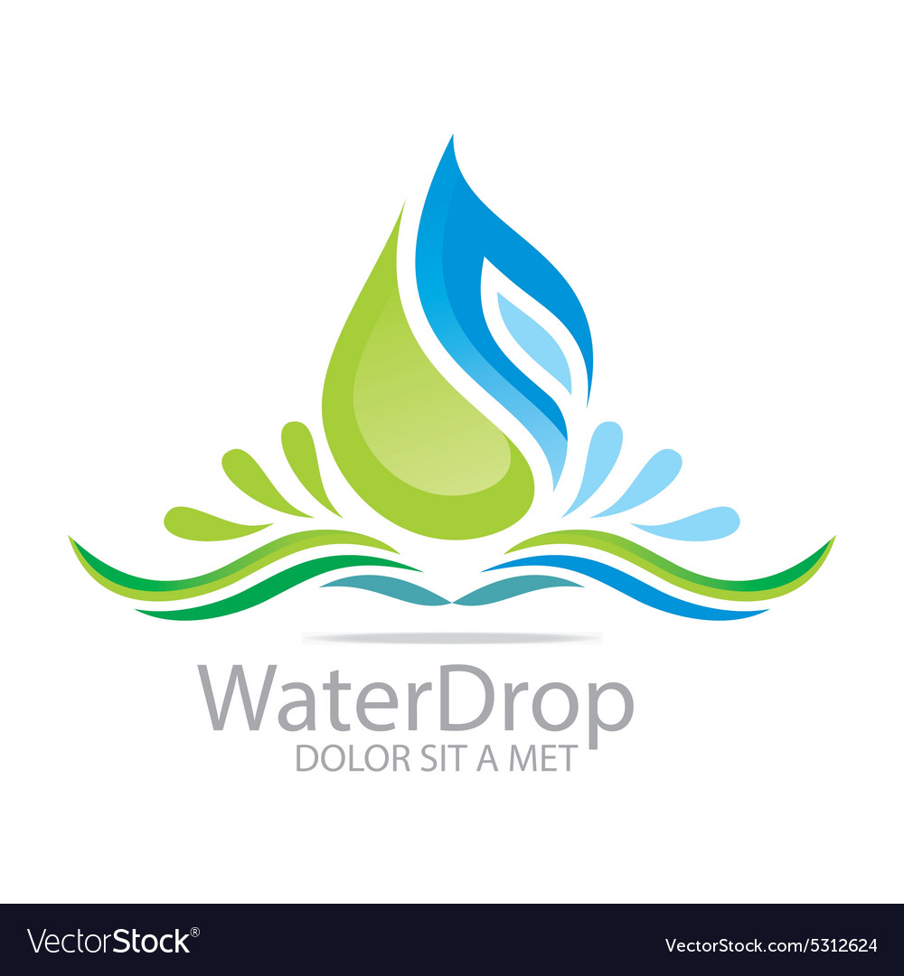 Logo water drop pure symbol icon business design vector