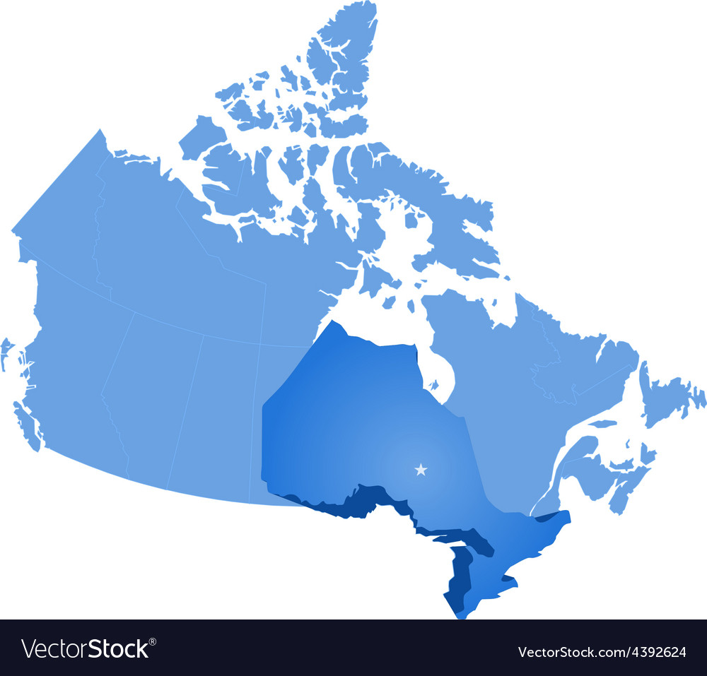 Map of canada  ontario province vector