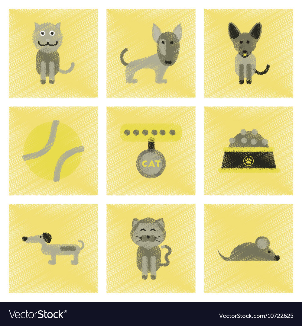 Assembly flat shading style icons pets and vector